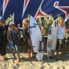 Bella Kenworthy (right) of Dana Point was among the six local surfers who claimed seven Western Surfing Association season champion titles at the tour's West Coast Championship, May 14-15 at San Onofre State Park, Church Beach. Photo: Andrea Swayne