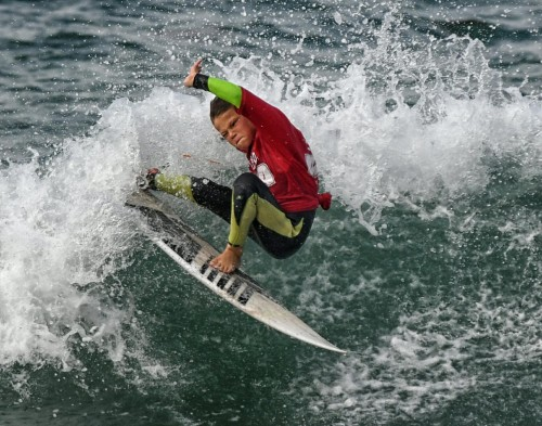 Makai Bray (San Clemente) was among six local surfers who claimed WSA West Coast Champ titles. Bray won the Boys/Girls U10 division. Photo: Mike Bray