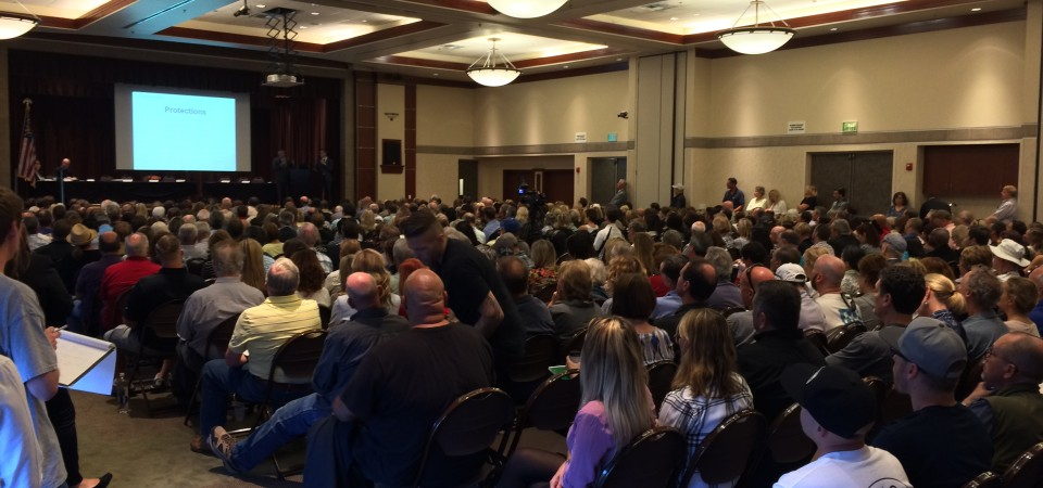 About 600 people gathered in Laguna Hills on May 12 to discuss sober living homes. Photo: Matt Cortina