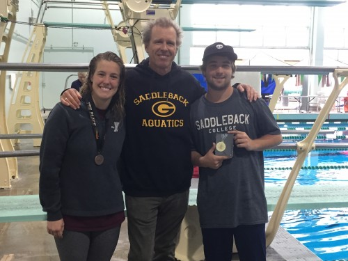 Saddleback College divers Sarah Duke, left, and Jacob Swanson, right, pose with coach Curt Wilson at the California Community College Swimming and Diving State Championships. Photo: Courtesy