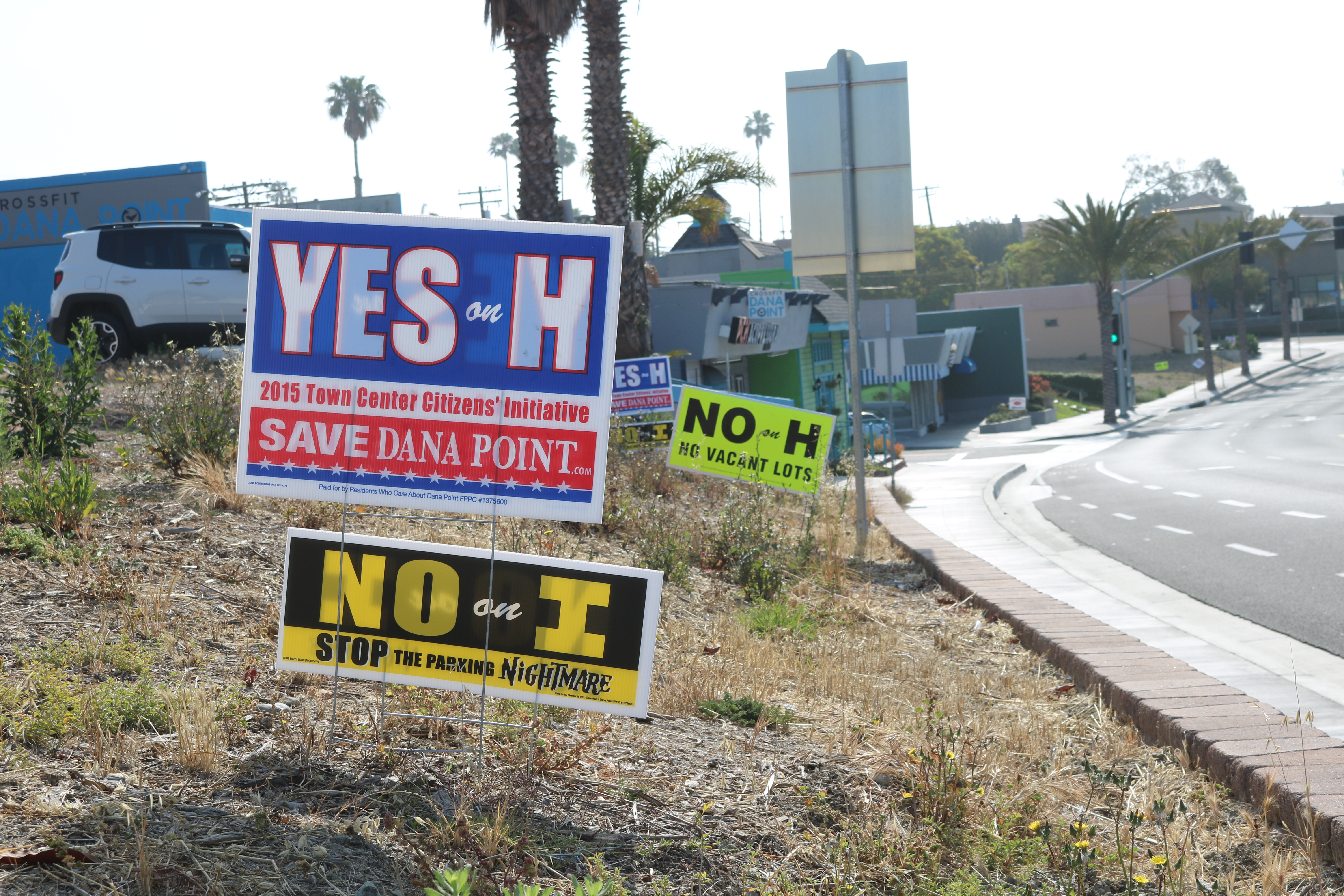The battle of Measure H and Measure I consumed the streets of Dana Point for weeks ahead of Tuesday's election. Photo:Matt Cortina