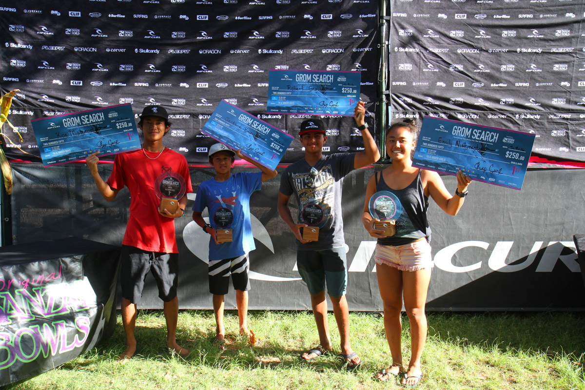 Four winners were crowned in Oahu in the second event of the Rip Curl Gromsearch. San Clemente's Samantha Sibley placed 4th in the 16U Girls competition. Photo: Courtesy Rip Curl