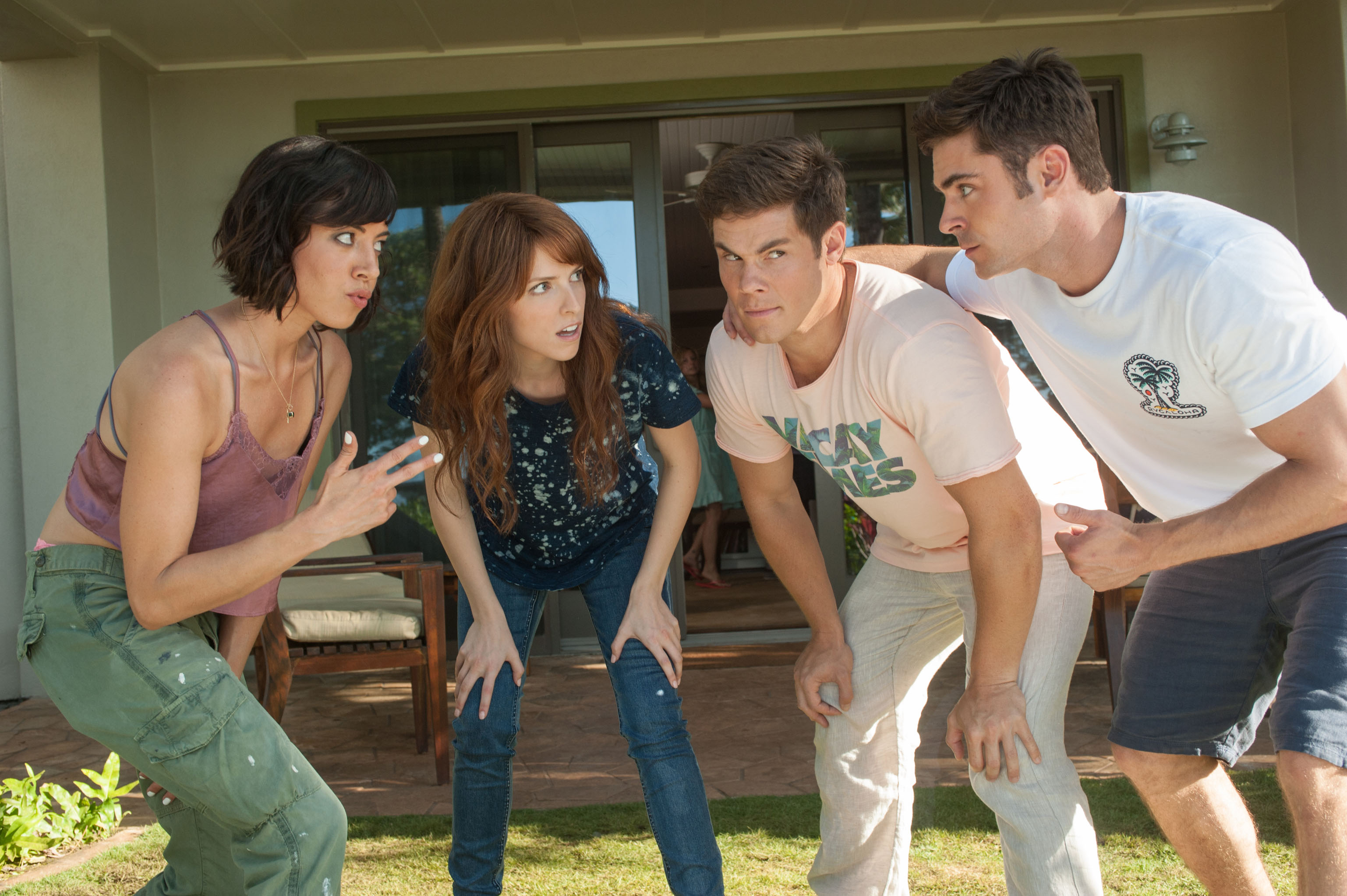(From left) Tatiana (Aubrey Plaza) and Alice (Anna Kendrick) get to know their dates, Mike (Adam Devine) and Dave (Zac Efron). Photo Credit: Gemma LaMana.