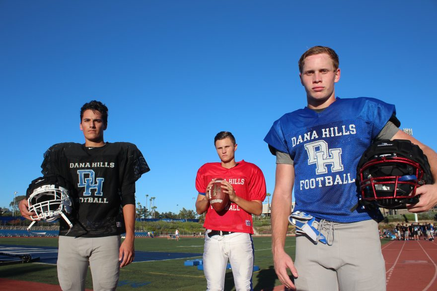 L to R: Julian Casillas, Corey Cisowski and Ryder Lynch will lead the Dana Hills High School football team in 2016. Photo: Steve Breazeale