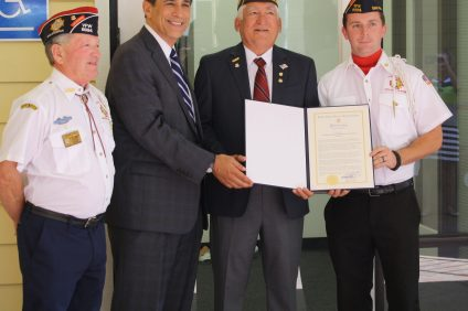 Members of the Dana Point VFW Post #9923 were recognized by Congressman Darrell Issa for their hard work during a proclamation reading on Friday, July 29 at Dana Point City Hall. Photo: Kristina Pritchett