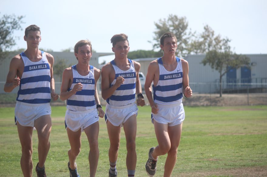 L to R: Thomas Wilfert, John Turner, Jack Landgraf, Brandon Hough and the Dana Hills boys cross country team enter the season as the top-ranked team in CIF-SS Division 1. Photo: Steve Breazeale
