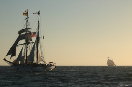 To kick off the annual Tall Ships Festival, the Ocean Institute held the Sunset Parade Sails with various ships. Photo: Kristina Pritchett