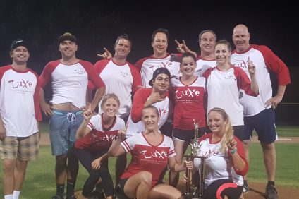 Luxe Restaurant & Martini Bar did not allow a run in two postseason games to claim the Dana Point Recreation Department's advanced kickball league. Photo: Courtesy