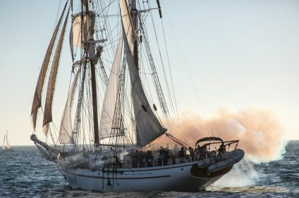 A tall ship firing its canon during the Tall Ships Festival on Saturday. Photo: Alex Paris