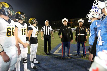 Military personnel conducted the pre-game coin flip at the Honor the Valor football game at Dana Hills High School on Nov. 4. Photo: Brooke Sheldon and Alan Gibby