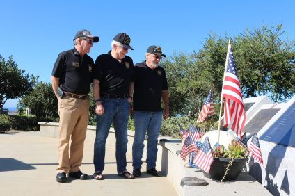 VFW Post 9934 members stand at the Dana Point Veterans Memorial to show support to Dana Point's veterans. The city's annual Veterans Day ceremony is planned for Friday, Nov. 11. Photo: Kristina Pritchett